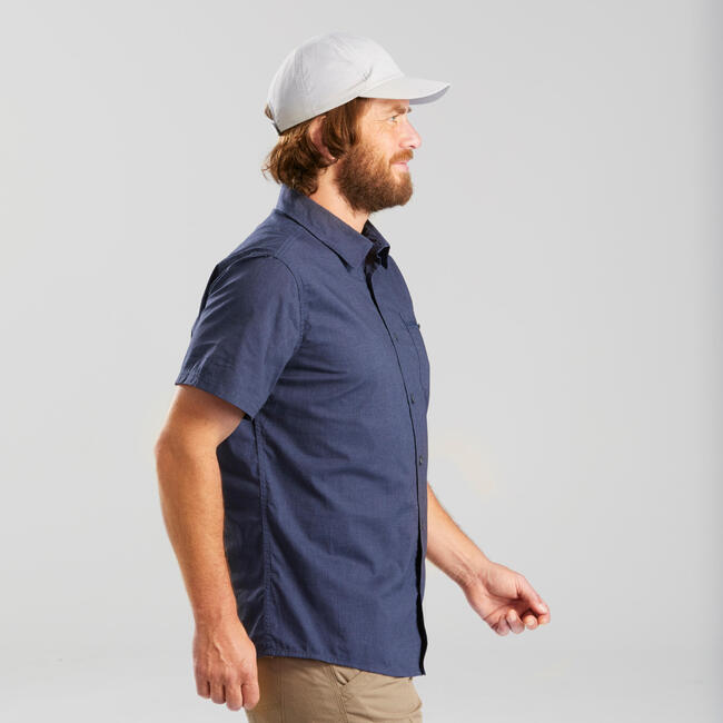 Men's short-sleeved trekking travel shirt - TRAVEL100 - Blue