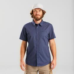 Overhemd voor backpacken TRAVEL 100 korte mouwen blauw