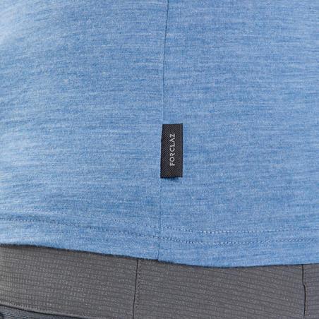 Women's Travel Trekking Merino Wool T-Shirt - TRAVEL 100 - Blue