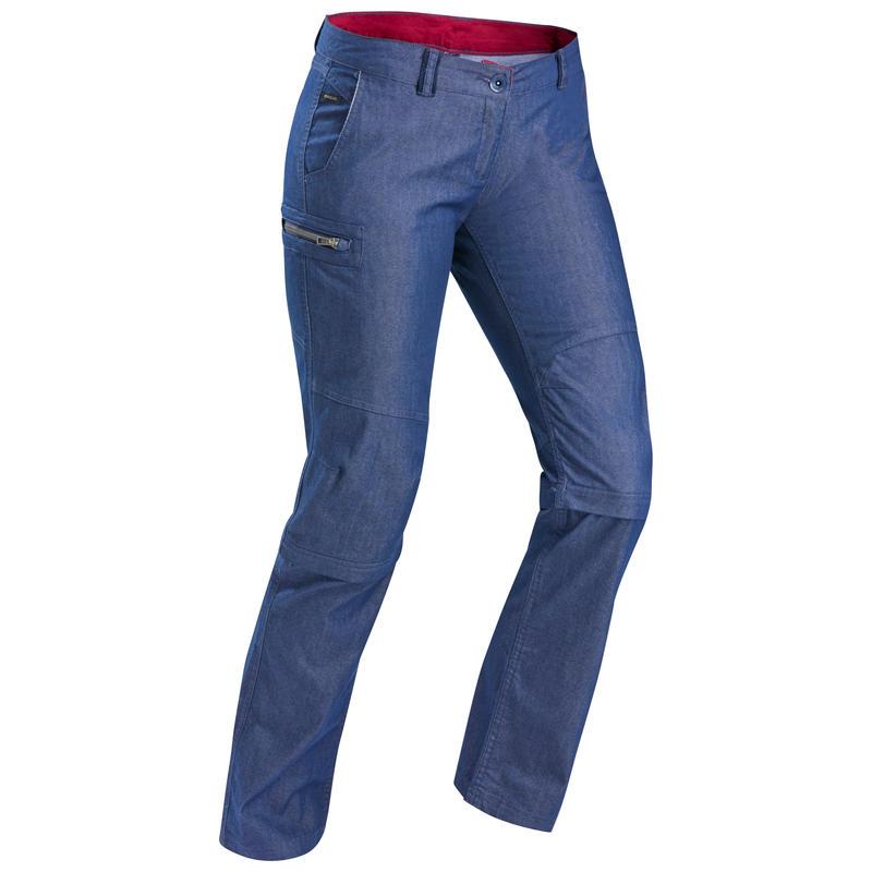 Pantalon modulable de trek voyage - TRAVEL 100 denim bleu femme