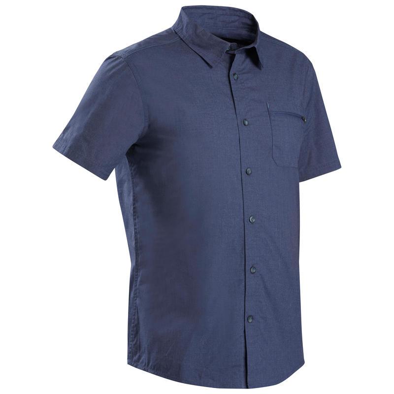 Men's short-sleeved trekking travel shirt - TRAVEL100 - Blue
