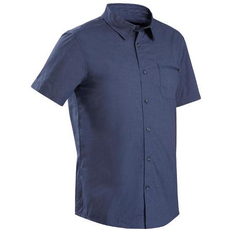 Men's Short-sleeved Travel Trekking Shirt TRAVEL 100 - Blue
