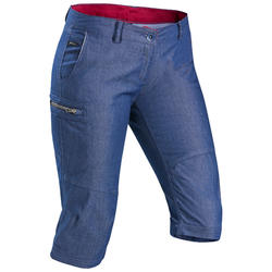 Pantalon modulable de trek voyage - TRAVEL 100 denim bleu femme