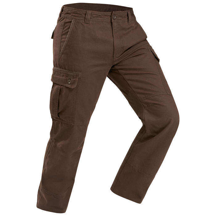 Pantalon trekking TRAVEL100 warm homme marron