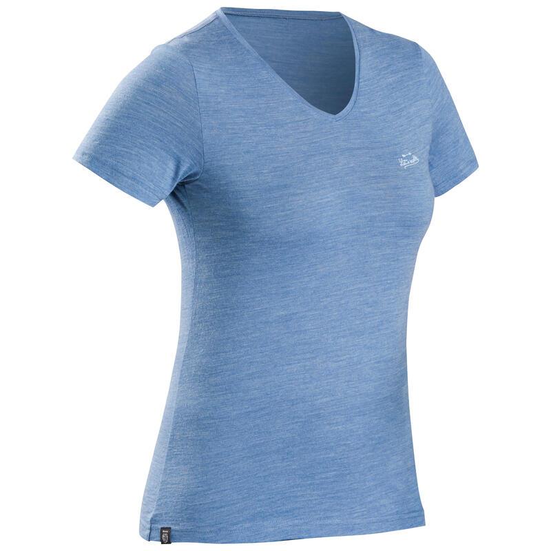T-shirt de trek voyage - manches courtes - laine mérinos TRAVEL 100 bleu Femme