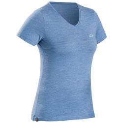 Camiseta Manga Corta De Montaña y Treking Viaje Forclaz Lana Merina Mujer Azul
