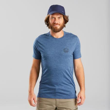 Men's travel trekking Merino wool T-shirt - TRAVEL 100 - blue