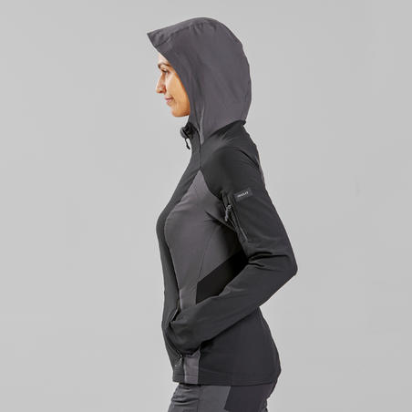 Women's Mountain Trekking Wind Jacket -TREK 900 - Black