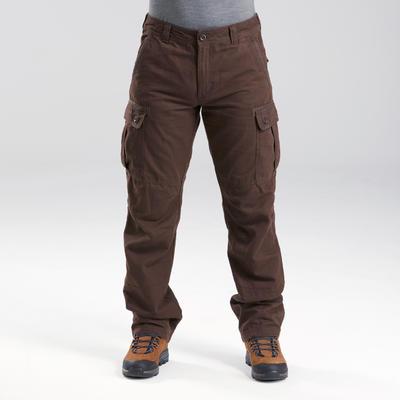 Pantalon de trek voyage - TRAVEL 100 WARM marron homme