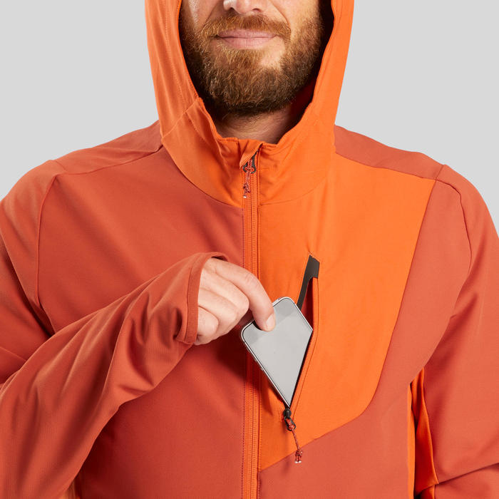 Softshell coupe-vent de trek montagne - TREK 900 WIND orange homme