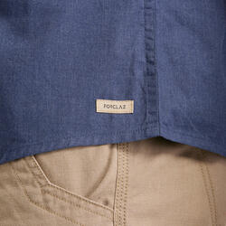 Overhemd voor backpacken heren Travel 100 korte mouwen blauw