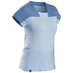 Merino T-shirt voor bergtrekking dames Trek 500 lichtblauw