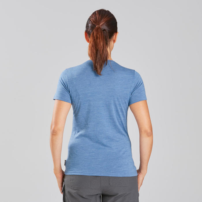 Trekking T-shirt dames Travel 500 merinowol