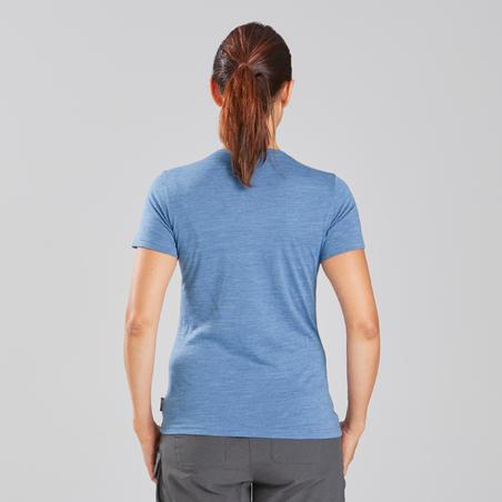 T-shirt laine mérinos de rando de voyage - TRAVEL 100 bleu - Femme
