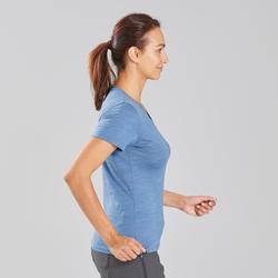 T-shirt laine mérinos de trek voyage - TRAVEL 100 bleu femme