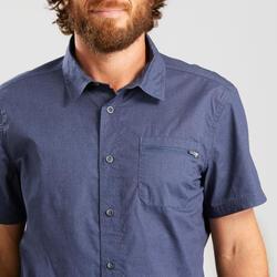 Overhemd met korte mouwen voor heren Travel 100 blauw