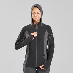 Jaket pendakian gunung hitam wanita TREK900 hitam