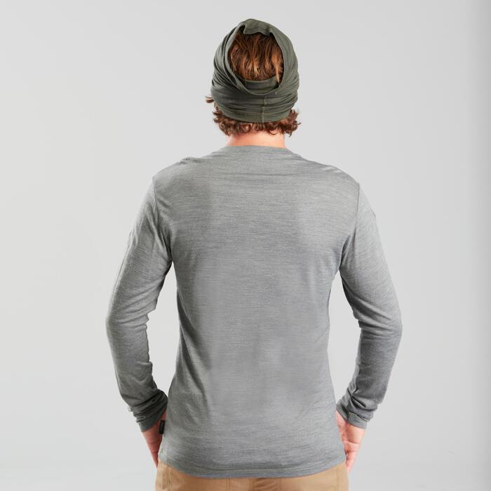 T-shirt laine mérinos de trek voyage - TRAVEL 100 manches longues kaki homme