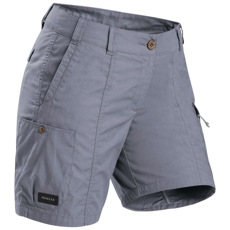 WOMEN APPAREL OUTFIT TRAVEL TREK Trekking - W Shorts TRAVEL100 - Grey FORCLAZ - Trekking