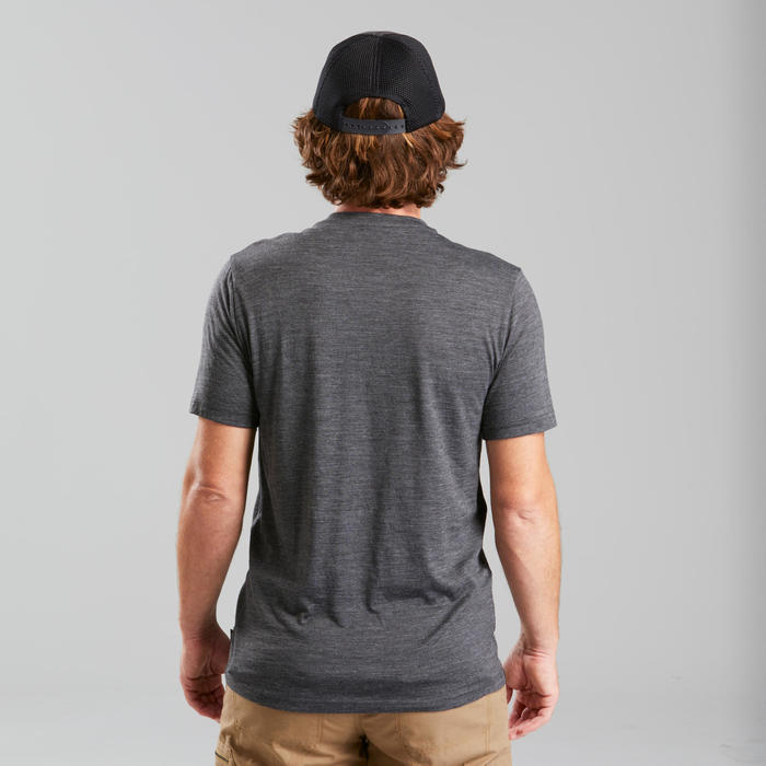 Merino T-shirt voor backpacken Travel 100 heren grijs