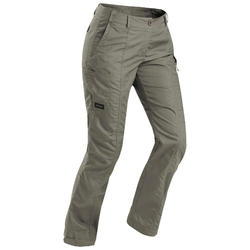 Women's Travel Trekking Trousers - TRAVEL 100 Khaki