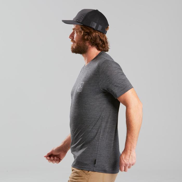 T-shirt laine mérinos de trek voyage - TRAVEL 100 gris homme