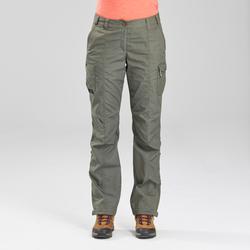 Pantalon de trek voyage - TRAVEL 100 kaki femme