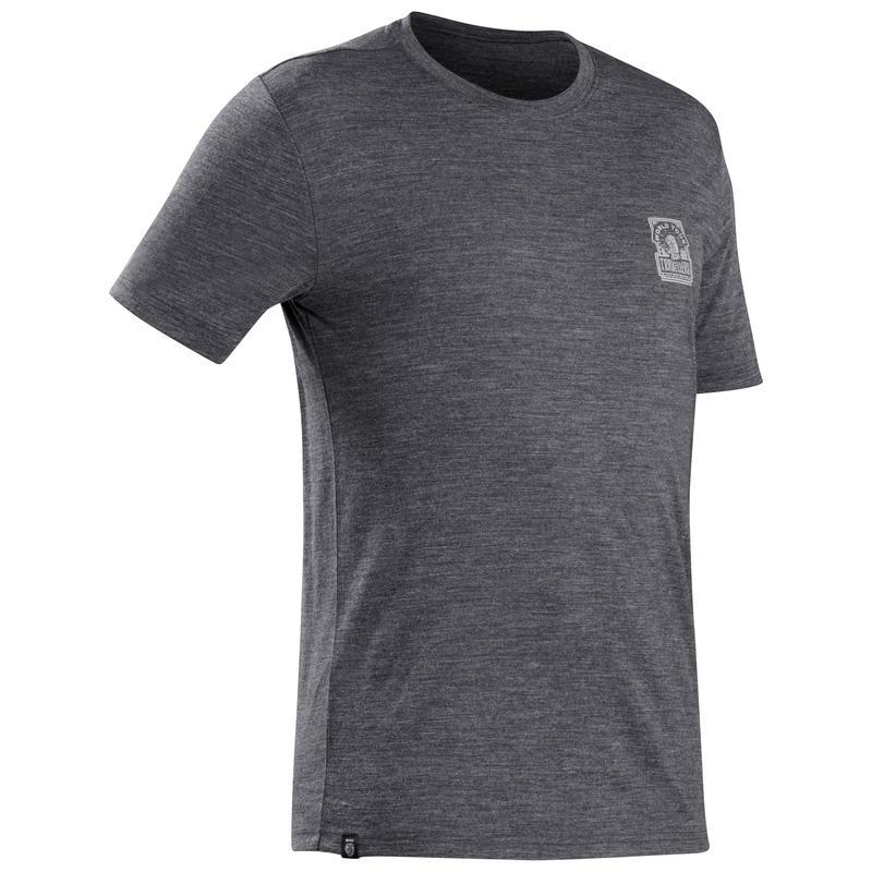 Men's travel trekking Merino wool T-shirt - TRAVEL 100 - grey