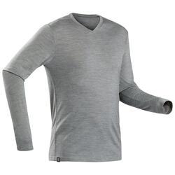 T-Shirt lana montagna uomo TREK100 WOOL verde oliva