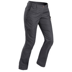 Women's Trekking Travel Trousers - TRAVEL 100 Grey