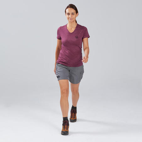 T-Shirt Merino Trekking Perjalanan Wanita - TRAVEL 100 Ungu
