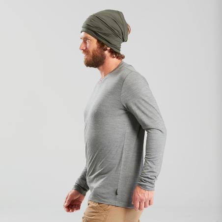 Men's long-sleeved Merino wool trekking t-shirt - TRAVEL 100 - Khaki