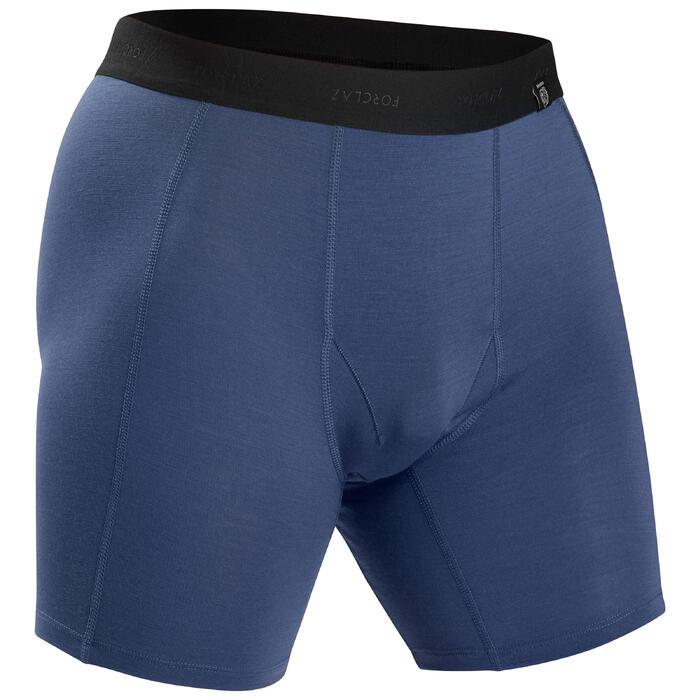 Merino boxershort voor bergtrekking heren Trek 500 blauw