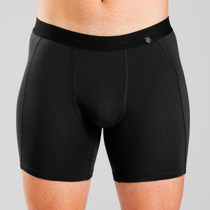 Sous vêtement boxer mérinos de trek montagne | TREK 500 noir - homme