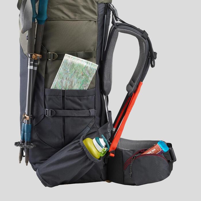 Women's Mountain Trekking Backpack Trek 100 Easyfit 60L - Khaki