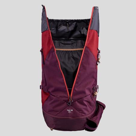 Women's Mountain Trekking Backpack | TREK 100 Easyfit 50L Red