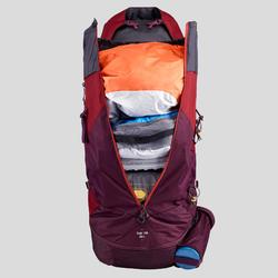 Sac à dos de trekking en montagne femme | TREK 100 EASYFIT 50L rouge jed