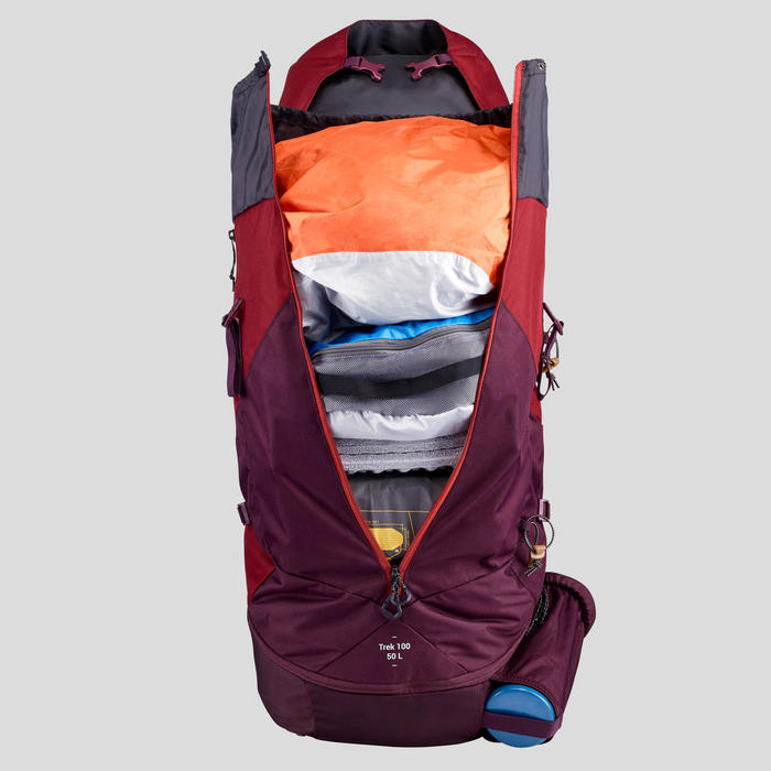 Women's Mountain Trekking Backpack Trek 100 Easyfit 50L - red