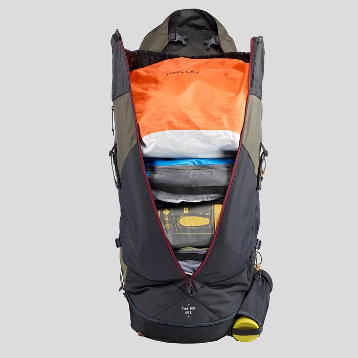 Rugzak voor bergtrekking dames Trek 100 Easyfit - 60 l kaki
