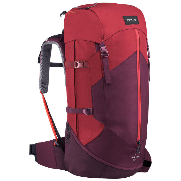 Sac à dos de trekking en montagne femme | TREK 100 Easyfit 50L rouge