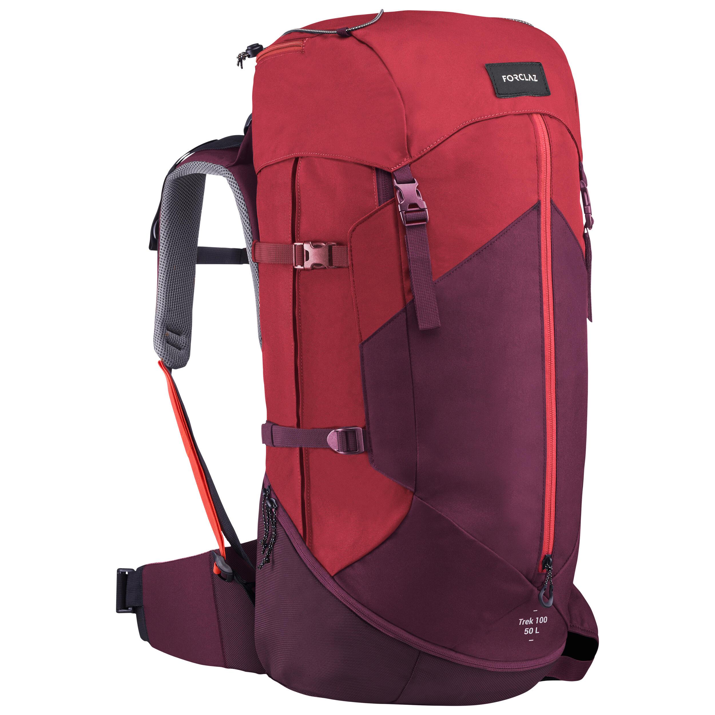 Sac à dos de trekking en montagne femme   TREK 100 EASYFIT 50L rouge jed