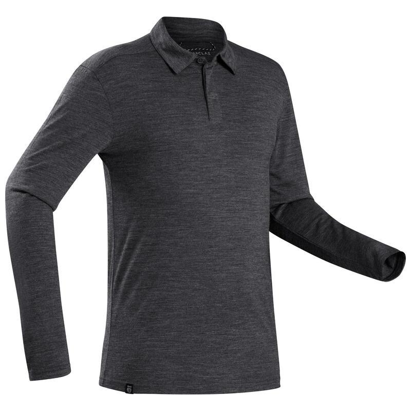 Men's Long-sleeved Travel Trekking Merino Wool Polo Shirt - TRAVEL 500 Grey