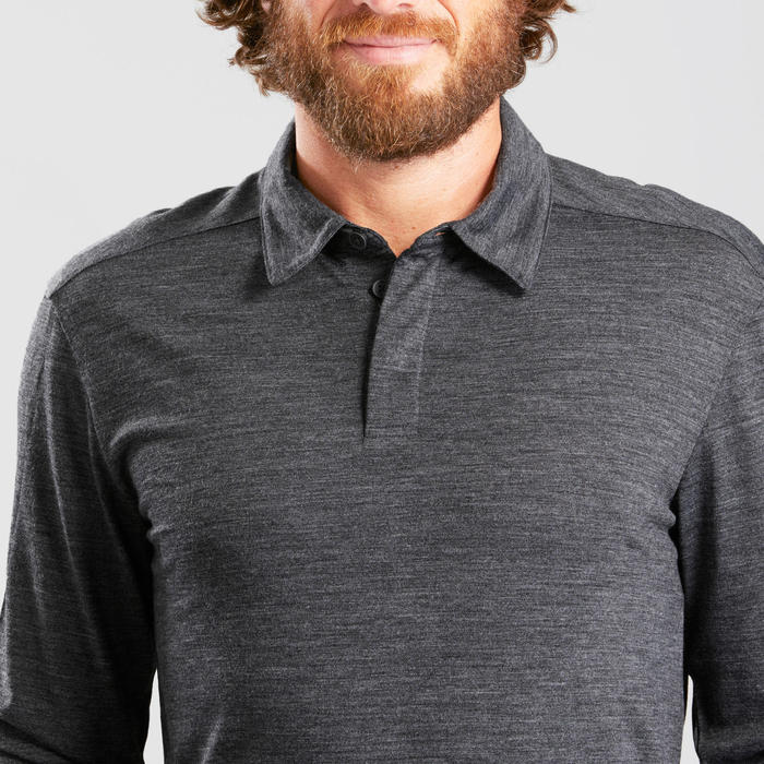 Polo laine mérinos de trek voyage - TRAVEL 500 manches longues gris homme