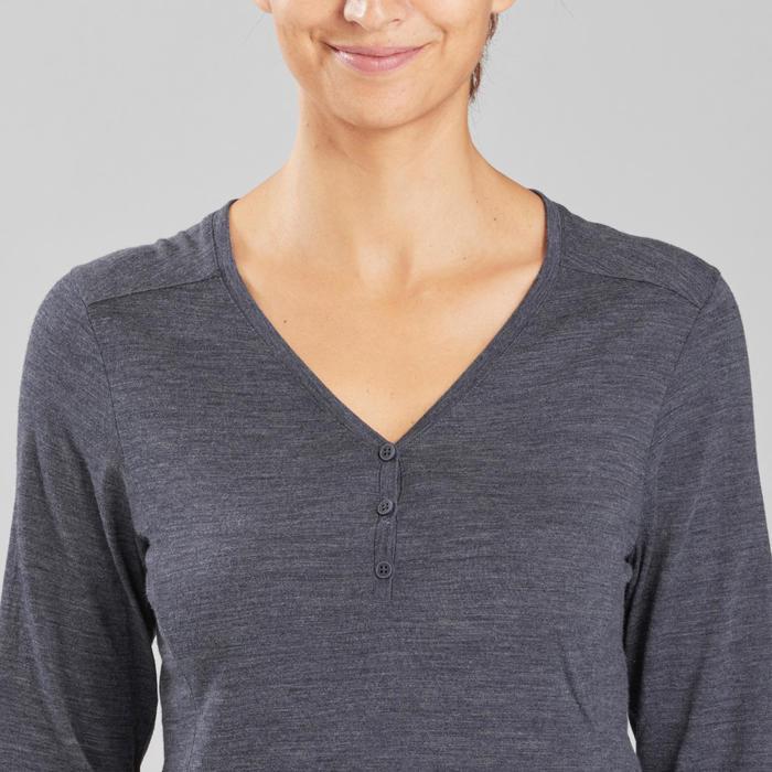 T-shirt laine mérinos de trek voyage - TRAVEL 500 bleu marine femme