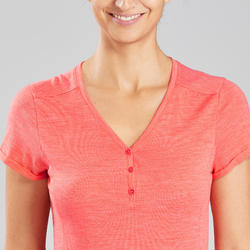 Merino shirt voor backpacken dames Travel 500 koraalrood