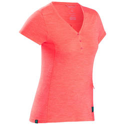 Merino T-shirt voor backpacken dames Travel 500 koraalrood