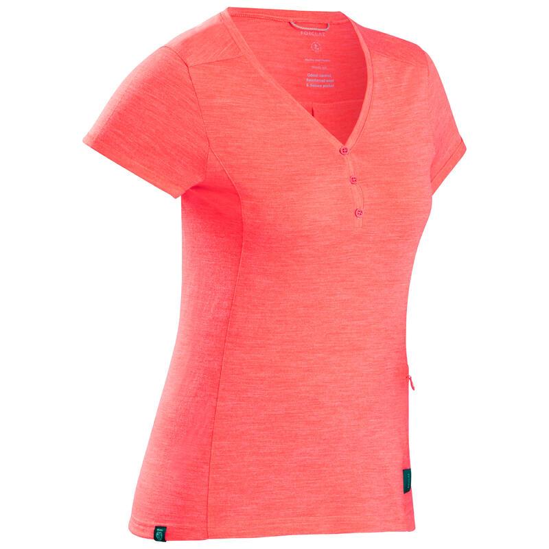 Camiseta lana merina de trekking viaje - TRAVEL 500 mujer rojo coral