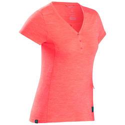 T-Shirt viaggio donna TRAVEL500 LANA MERINOS corallo