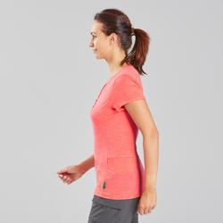 T-shirt laine mérinos de trek voyage - TRAVEL 500 corail femme