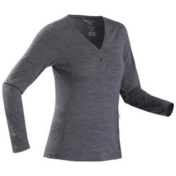 Merino T-shirt voor backpacken dames Travel 500 marineblauw